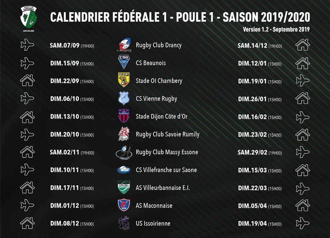 Calendrier Federale 2 2020 2019.Rugbycleek Mise A Jour Du Calendrier Du Rc Suresnes Hauts